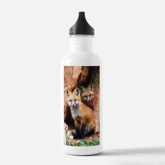 Fox Cubs in Hollow Tre Water Bottle