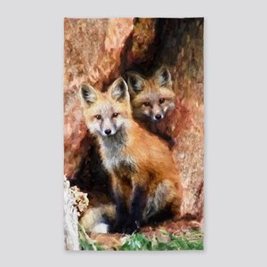Fox Cubs in Hollow Tree Area Rug