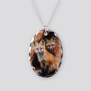 Fox Cubs in Hollow Tree Necklace Oval Charm