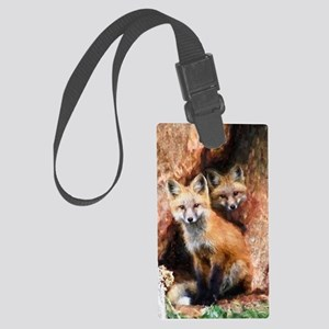 Fox Cubs in Hollow Tree Large Luggage Tag