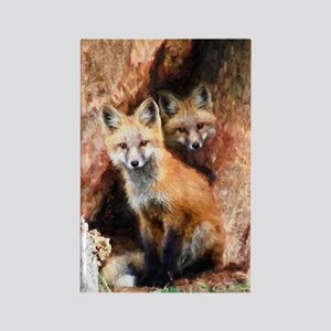 Fox Cubs in Hollow Tree Rectangle Magnet