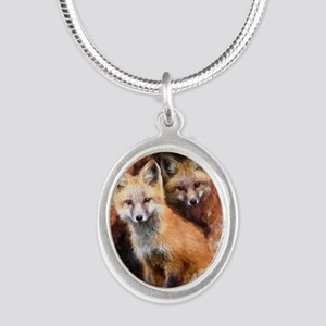 Fox Cubs in Hollow Tree Silver Oval Necklace