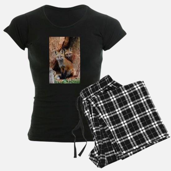 Fox Cubs in Hollow Tree Pajamas
