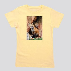 Fox Cubs in Hollow Tree Girl's Tee