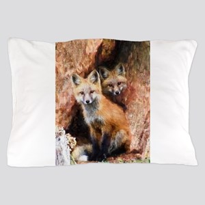 Fox Cubs in Hollow Tree Pillow Case