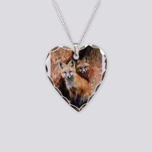 Fox Cubs in Hollow Tree Necklace Heart Charm