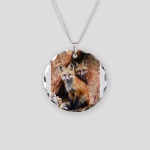 Fox Cubs in Hollow Tree Necklace Circle Charm