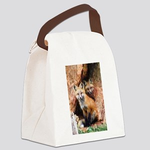 Fox Cubs in Hollow Tree Canvas Lunch Bag