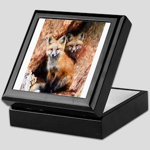 Fox Cubs in Hollow Tree Keepsake Box