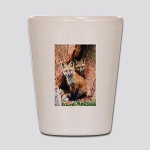 Fox Cubs in Hollow Tree Shot Glass