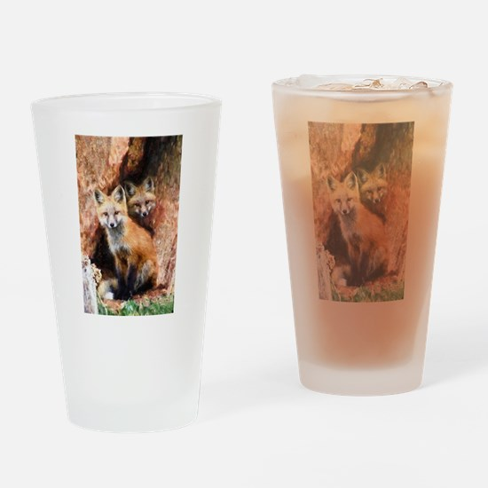 Fox Cubs in Hollow Tree Drinking Glass