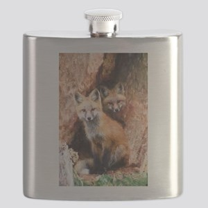 Fox Cubs in Hollow Tree Flask