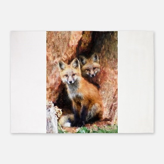 Fox Cubs in Hollow Tree 5'x7'Area Rug