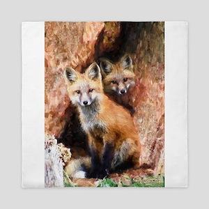 Fox Cubs in Hollow Tree Queen Duvet