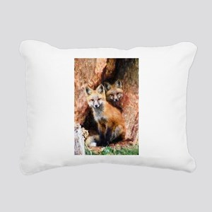 Fox Cubs in Hollow Tree Rectangular Canvas Pillow