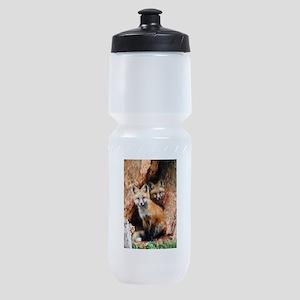 Fox Cubs in Hollow Tree Sports Bottle