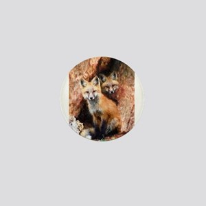 Fox Cubs in Hollow Tree Mini Button