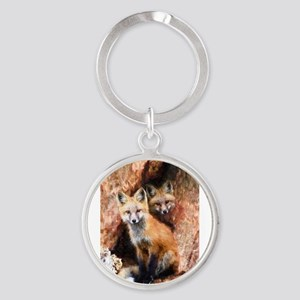 Fox Cubs in Hollow Tree Keychains