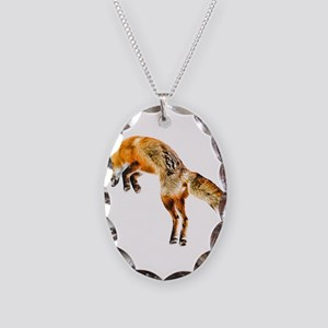 Leaping Fox Necklace Oval Charm