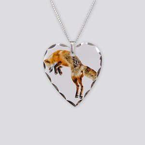 Leaping Fox Necklace Heart Charm