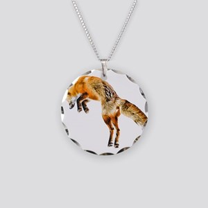 Leaping Fox Necklace Circle Charm