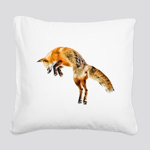 Leaping Fox Square Canvas Pillow