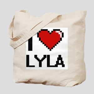 I Love Lyla Digital Retro Design Tote Bag