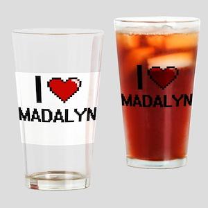 I Love Madalyn Digital Retro Design Drinking Glass
