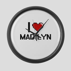 I Love Madilyn Digital Retro Desi Large Wall Clock