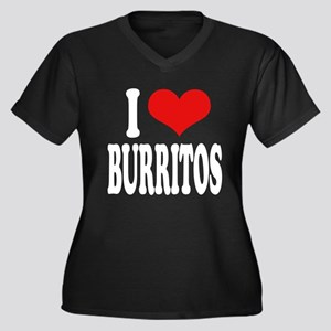 I Love Burritos Women's Plus Size V-Neck Dark T-Sh