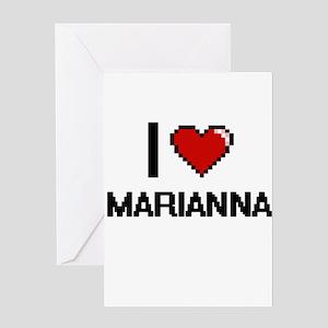 I Love Marianna Digital Retro Desig Greeting Cards