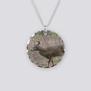 Whitetail buck Necklace Circle Charm
