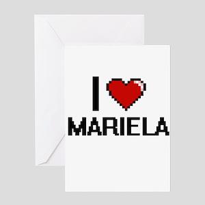 I Love Mariela Digital Retro Design Greeting Cards