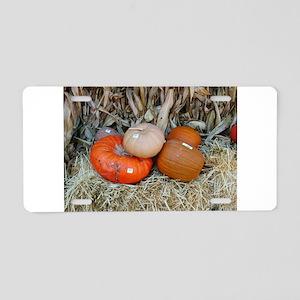 pumpkins on hay bale Aluminum License Plate