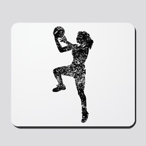 Vintage Womens Basketball Player Mousepad