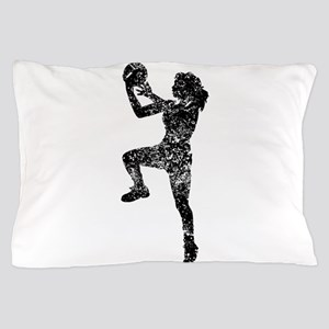 Vintage Womens Basketball Player Pillow Case