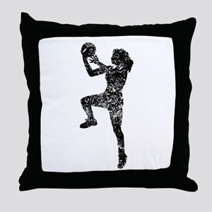 Vintage Womens Basketball Player Throw Pillow