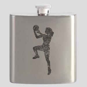 Vintage Womens Basketball Player Flask