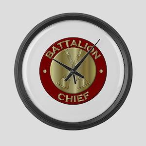 battalion chief brass fire depart Large Wall Clock