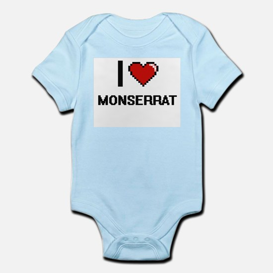I Love Monserrat Digital Retro Design Body Suit