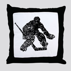 Vintage Hockey Goalie Throw Pillow
