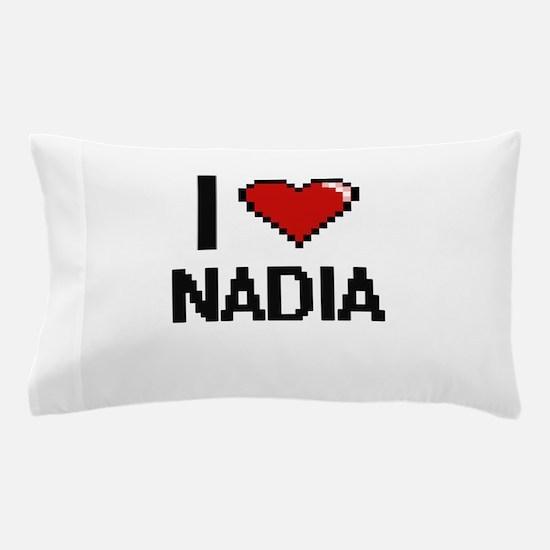 I Love Nadia Digital Retro Design Pillow Case