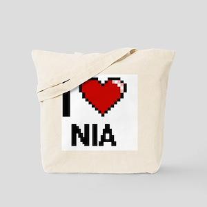 I Love Nia Digital Retro Design Tote Bag