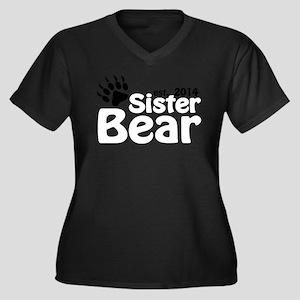 Sister Bear Women's Plus Size V-Neck Dark T-Shirt