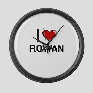 I Love Rowan Digital Retro Design Large Wall Clock