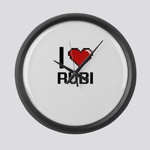 I Love Rubi Digital Retro Design Large Wall Clock
