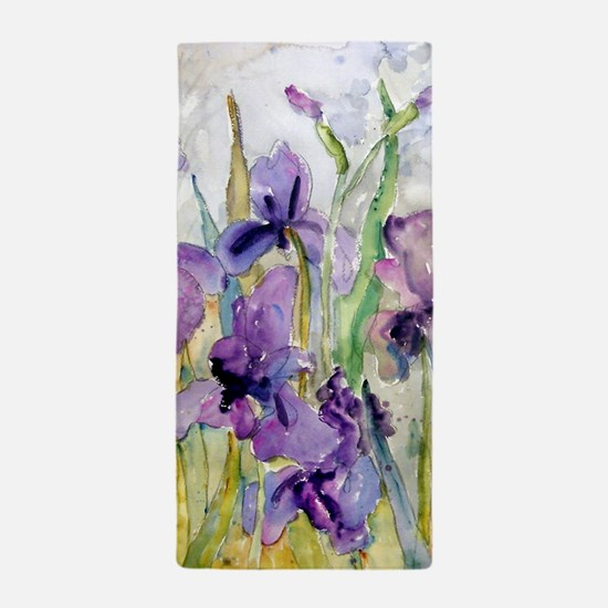 Purple and Yellow Iris Romantic Ruffle Beach Towel