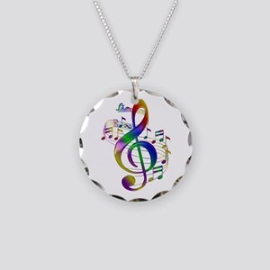 Colorful Treble Clef Necklace Circle Charm