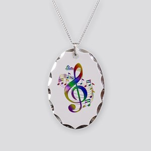 Colorful Treble Clef Necklace Oval Charm