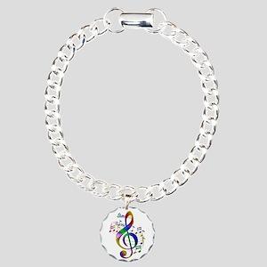 Colorful Treble Clef Charm Bracelet, One Charm